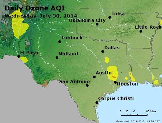 Peak Ozone (8-hour) - http://files.airnowtech.org/airnow/2014/20140730/peak_o3_tx_ok.jpg