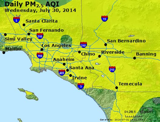 Peak Particles PM<sub>2.5</sub> (24-hour) - http://files.airnowtech.org/airnow/2014/20140730/peak_pm25_losangeles_ca.jpg