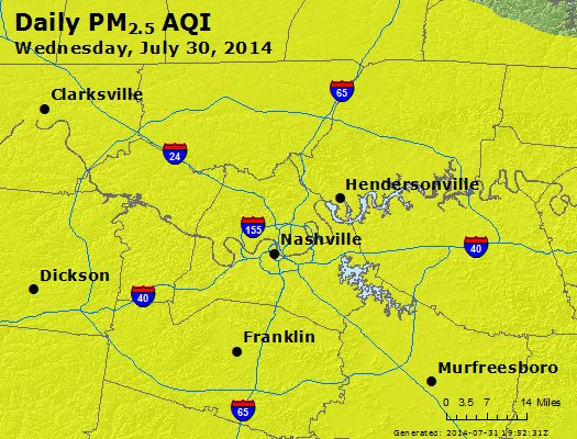 Peak Particles PM<sub>2.5</sub> (24-hour) - http://files.airnowtech.org/airnow/2014/20140730/peak_pm25_nashville_tn.jpg