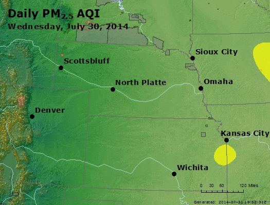 Peak Particles PM<sub>2.5</sub> (24-hour) - http://files.airnowtech.org/airnow/2014/20140730/peak_pm25_ne_ks.jpg