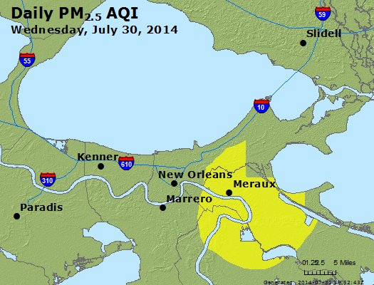 Peak Particles PM<sub>2.5</sub> (24-hour) - http://files.airnowtech.org/airnow/2014/20140730/peak_pm25_neworleans_la.jpg