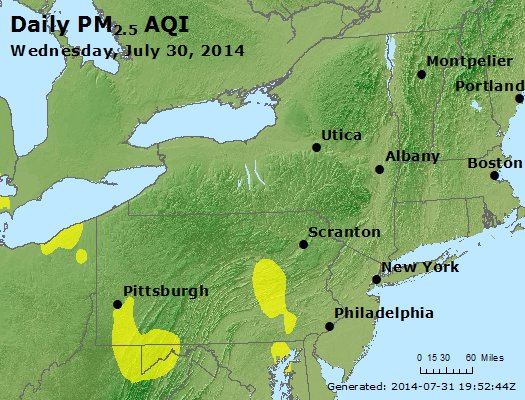 Peak Particles PM<sub>2.5</sub> (24-hour) - http://files.airnowtech.org/airnow/2014/20140730/peak_pm25_ny_pa_nj.jpg