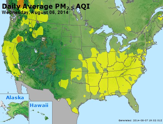 Peak Particles PM<sub>2.5</sub> (24-hour) - http://files.airnowtech.org/airnow/2014/20140806/peak_pm25_usa.jpg