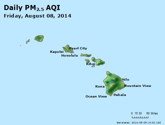 Peak Particles PM<sub>2.5</sub> (24-hour) - http://files.airnowtech.org/airnow/2014/20140808/peak_pm25_hawaii.jpg
