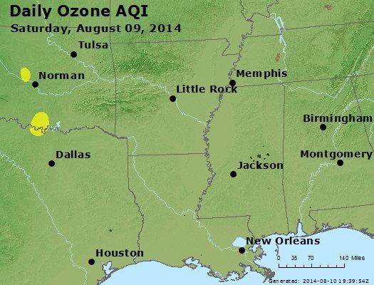 Peak Ozone (8-hour) - http://files.airnowtech.org/airnow/2014/20140809/peak_o3_ar_la_ms.jpg