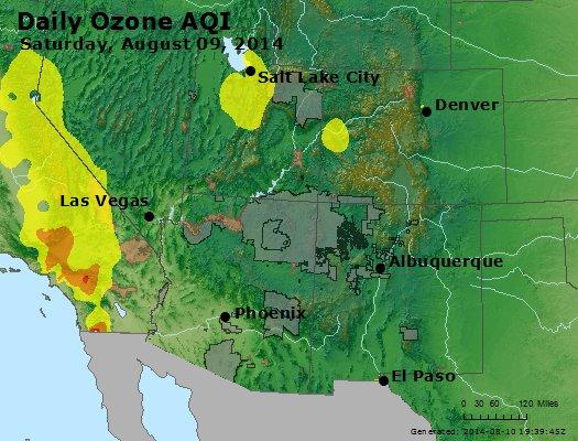 Peak Ozone (8-hour) - http://files.airnowtech.org/airnow/2014/20140809/peak_o3_co_ut_az_nm.jpg
