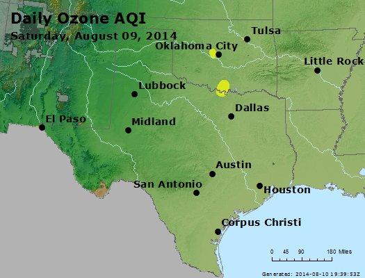 Peak Ozone (8-hour) - http://files.airnowtech.org/airnow/2014/20140809/peak_o3_tx_ok.jpg