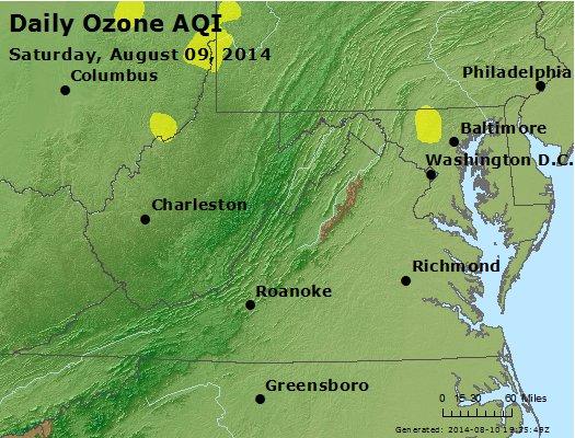 Peak Ozone (8-hour) - http://files.airnowtech.org/airnow/2014/20140809/peak_o3_va_wv_md_de_dc.jpg