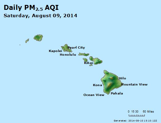 Peak Particles PM<sub>2.5</sub> (24-hour) - http://files.airnowtech.org/airnow/2014/20140809/peak_pm25_hawaii.jpg