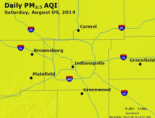 Peak Particles PM<sub>2.5</sub> (24-hour) - http://files.airnowtech.org/airnow/2014/20140809/peak_pm25_indianapolis_in.jpg