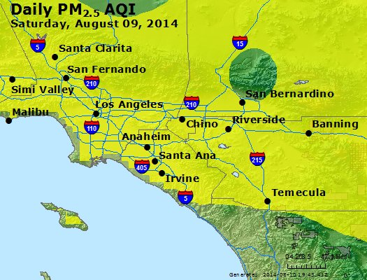 Peak Particles PM<sub>2.5</sub> (24-hour) - http://files.airnowtech.org/airnow/2014/20140809/peak_pm25_losangeles_ca.jpg