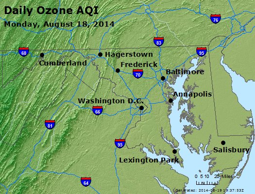 Peak Ozone (8-hour) - http://files.airnowtech.org/airnow/2014/20140818/peak_o3_maryland.jpg