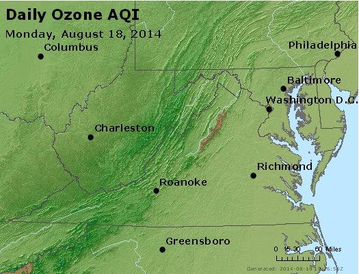 Peak Ozone (8-hour) - http://files.airnowtech.org/airnow/2014/20140818/peak_o3_va_wv_md_de_dc.jpg