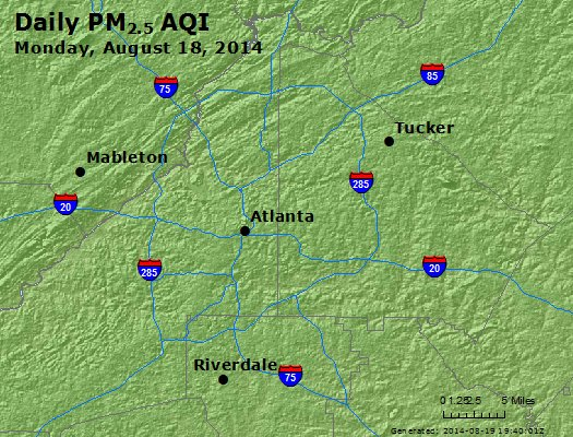 Peak Particles PM<sub>2.5</sub> (24-hour) - http://files.airnowtech.org/airnow/2014/20140818/peak_pm25_atlanta_ga.jpg