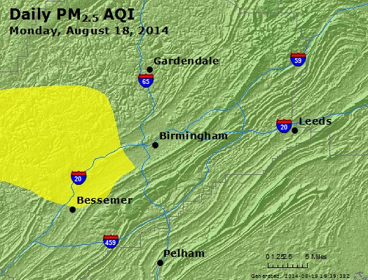 Peak Particles PM<sub>2.5</sub> (24-hour) - http://files.airnowtech.org/airnow/2014/20140818/peak_pm25_birmingham_al.jpg