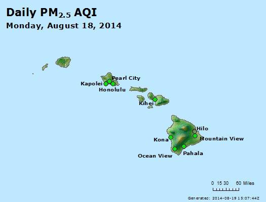 Peak Particles PM<sub>2.5</sub> (24-hour) - http://files.airnowtech.org/airnow/2014/20140818/peak_pm25_hawaii.jpg