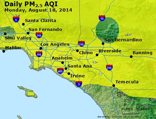 Peak Particles PM<sub>2.5</sub> (24-hour) - http://files.airnowtech.org/airnow/2014/20140818/peak_pm25_losangeles_ca.jpg