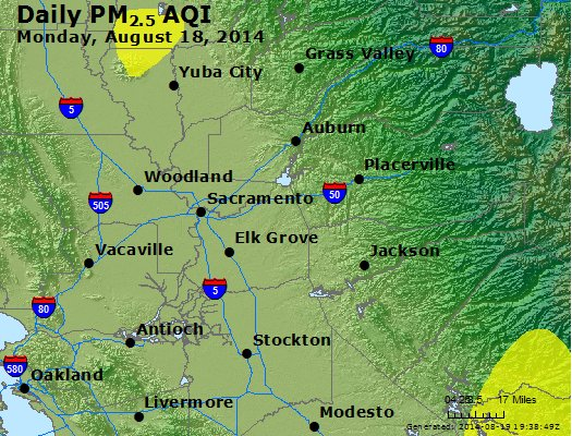 Peak Particles PM<sub>2.5</sub> (24-hour) - http://files.airnowtech.org/airnow/2014/20140818/peak_pm25_sacramento_ca.jpg
