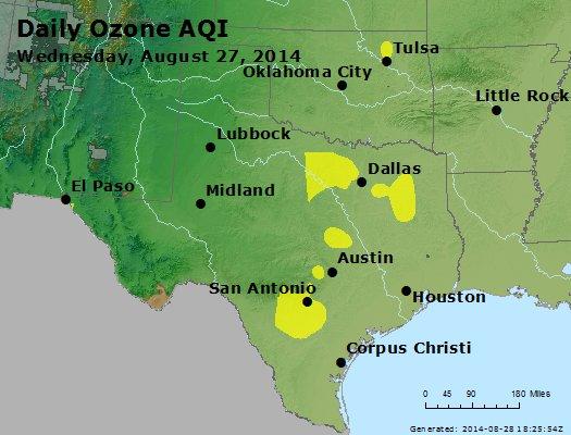 Peak Ozone (8-hour) - http://files.airnowtech.org/airnow/2014/20140827/peak_o3_tx_ok.jpg