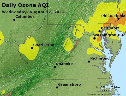 Peak Ozone (8-hour) - http://files.airnowtech.org/airnow/2014/20140827/peak_o3_va_wv_md_de_dc.jpg