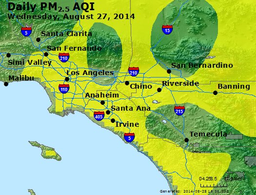 Peak Particles PM<sub>2.5</sub> (24-hour) - http://files.airnowtech.org/airnow/2014/20140827/peak_pm25_losangeles_ca.jpg