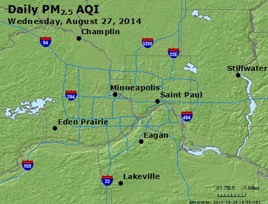 Peak Particles PM<sub>2.5</sub> (24-hour) - http://files.airnowtech.org/airnow/2014/20140827/peak_pm25_minneapolis_mn.jpg