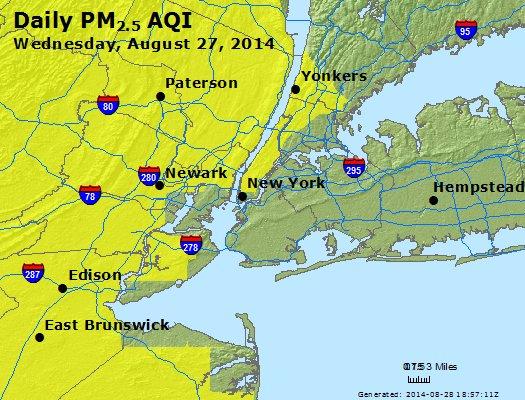 Peak Particles PM<sub>2.5</sub> (24-hour) - http://files.airnowtech.org/airnow/2014/20140827/peak_pm25_newyork_ny.jpg