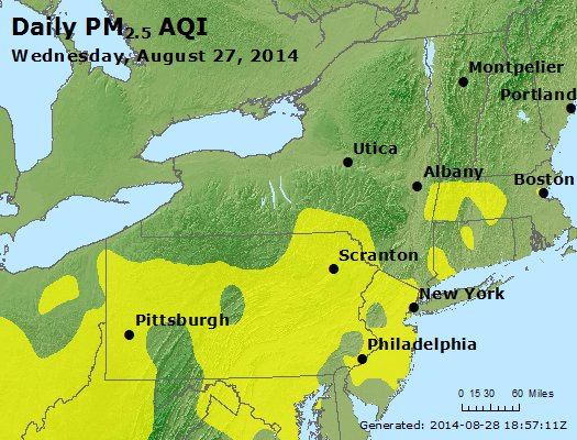 Peak Particles PM<sub>2.5</sub> (24-hour) - http://files.airnowtech.org/airnow/2014/20140827/peak_pm25_ny_pa_nj.jpg
