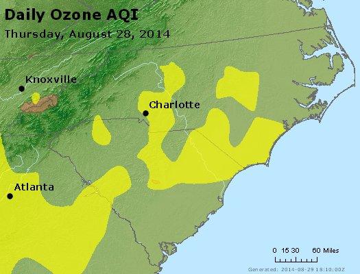 Peak Ozone (8-hour) - http://files.airnowtech.org/airnow/2014/20140828/peak_o3_nc_sc.jpg
