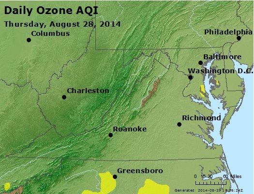 Peak Ozone (8-hour) - http://files.airnowtech.org/airnow/2014/20140828/peak_o3_va_wv_md_de_dc.jpg