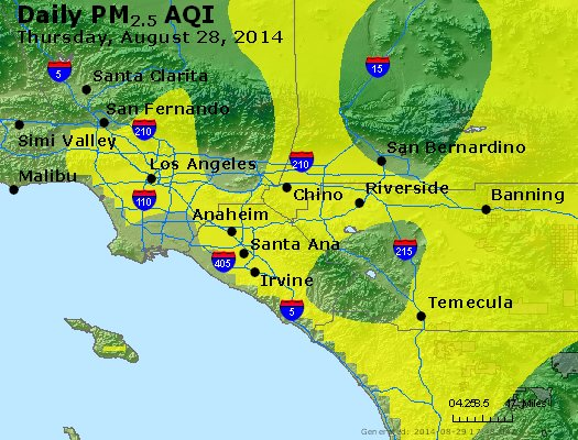 Peak Particles PM<sub>2.5</sub> (24-hour) - http://files.airnowtech.org/airnow/2014/20140828/peak_pm25_losangeles_ca.jpg