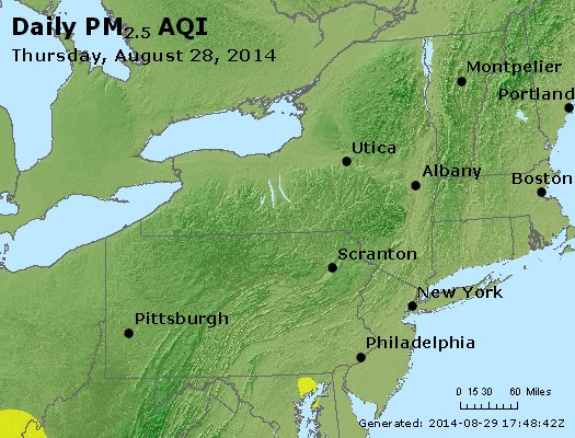 Peak Particles PM<sub>2.5</sub> (24-hour) - http://files.airnowtech.org/airnow/2014/20140828/peak_pm25_ny_pa_nj.jpg