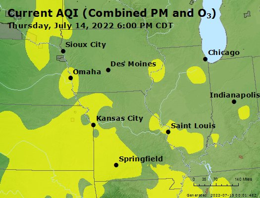 Current Regional AQI Map for Midwest