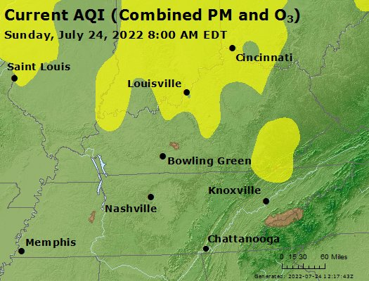 Current air quality map
