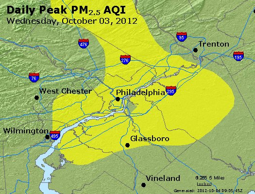 Peak Particles PM<sub>2.5</sub> (24-hour) - https://files.airnowtech.org/airnow/2012/20121003/peak_pm25_philadelphia_pa.jpg