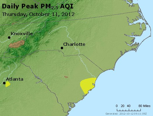 Peak Particles PM2.5 (24-hour) - https://files.airnowtech.org/airnow/2012/20121011/peak_pm25_nc_sc.jpg
