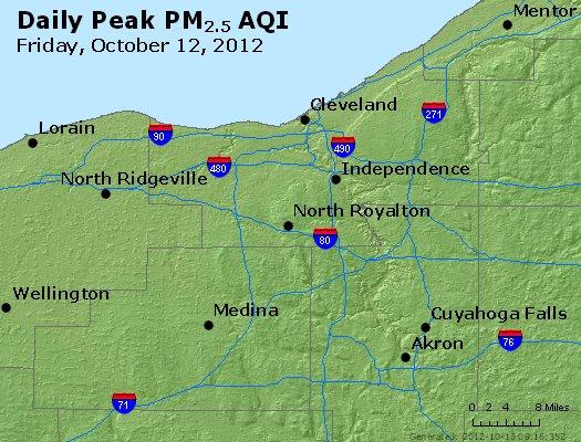 Peak Particles PM<sub>2.5</sub> (24-hour) - https://files.airnowtech.org/airnow/2012/20121012/peak_pm25_cleveland_oh.jpg