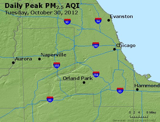 Peak Particles PM<sub>2.5</sub> (24-hour) - https://files.airnowtech.org/airnow/2012/20121030/peak_pm25_chicago_il.jpg