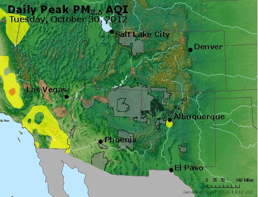 Peak Particles PM<sub>2.5</sub> (24-hour) - https://files.airnowtech.org/airnow/2012/20121030/peak_pm25_co_ut_az_nm.jpg