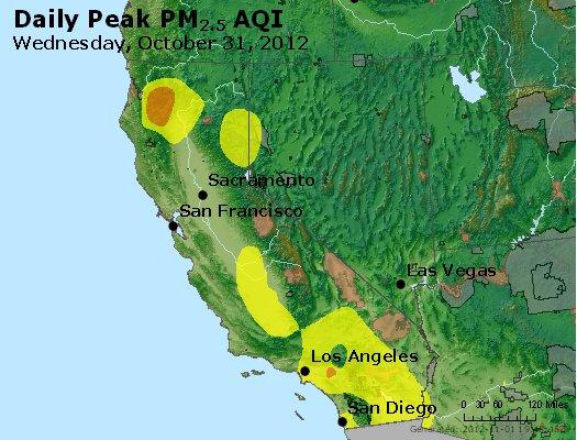 Peak Particles PM<sub>2.5</sub> (24-hour) - https://files.airnowtech.org/airnow/2012/20121031/peak_pm25_ca_nv.jpg