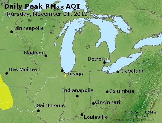 Peak Particles PM<sub>2.5</sub> (24-hour) - https://files.airnowtech.org/airnow/2012/20121101/peak_pm25_mi_in_oh.jpg