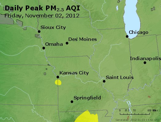 Peak Particles PM<sub>2.5</sub> (24-hour) - https://files.airnowtech.org/airnow/2012/20121102/peak_pm25_ia_il_mo.jpg
