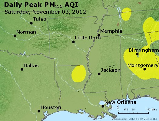 Peak Particles PM<sub>2.5</sub> (24-hour) - https://files.airnowtech.org/airnow/2012/20121103/peak_pm25_ar_la_ms.jpg