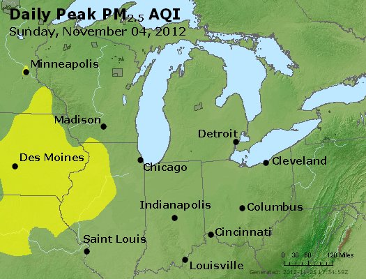 Peak Particles PM<sub>2.5</sub> (24-hour) - https://files.airnowtech.org/airnow/2012/20121104/peak_pm25_mi_in_oh.jpg
