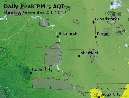 Peak Particles PM<sub>2.5</sub> (24-hour) - https://files.airnowtech.org/airnow/2012/20121104/peak_pm25_nd_sd.jpg