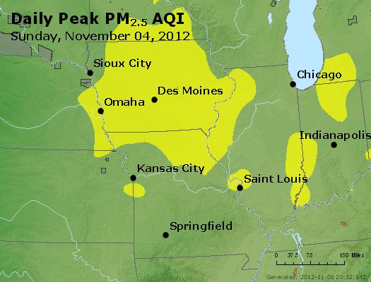 Peak Particles PM<sub>2.5</sub> (24-hour) - https://files.airnowtech.org/airnow/2012/20121105/peak_pm25_ia_il_mo.jpg