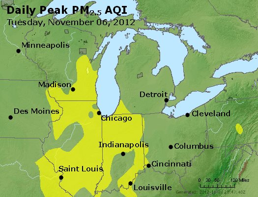 Peak Particles PM<sub>2.5</sub> (24-hour) - https://files.airnowtech.org/airnow/2012/20121106/peak_pm25_mi_in_oh.jpg