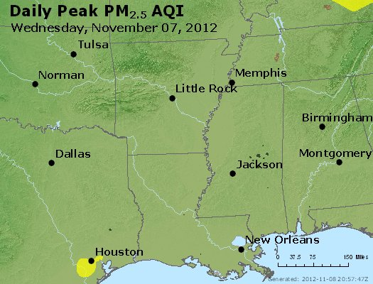 Peak Particles PM<sub>2.5</sub> (24-hour) - https://files.airnowtech.org/airnow/2012/20121107/peak_pm25_ar_la_ms.jpg