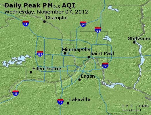 Peak Particles PM<sub>2.5</sub> (24-hour) - https://files.airnowtech.org/airnow/2012/20121107/peak_pm25_minneapolis_mn.jpg