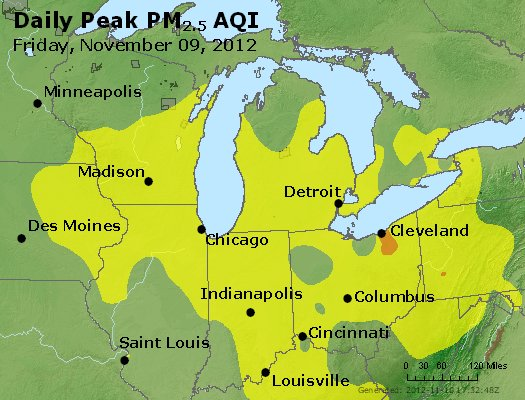 Peak Particles PM<sub>2.5</sub> (24-hour) - https://files.airnowtech.org/airnow/2012/20121109/peak_pm25_mi_in_oh.jpg